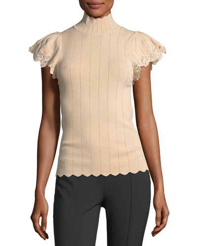 Short-Sleeve Pointelle Scalloped Lace Top