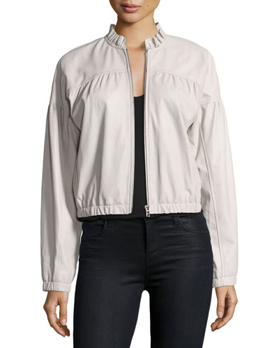 Zip-Front Lamb Leather Bomber Jacket