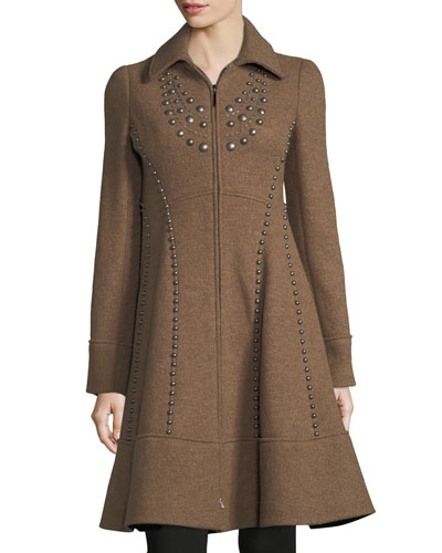 Grace Studded Zip-Front Wool Pea Coat