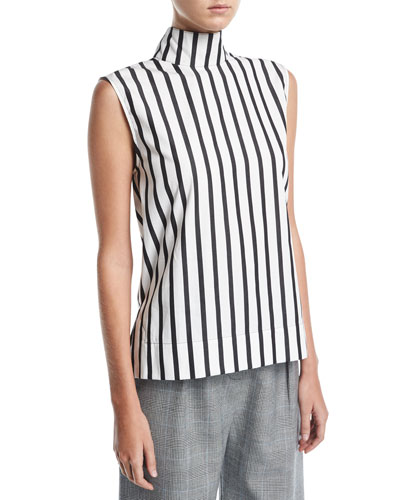 Odila Mock-Neck Sleeveless Striped Cotton Top