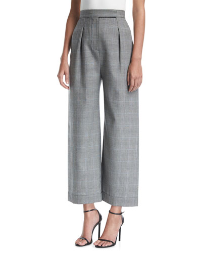 Delphine High-Waist Wide-Leg Wool-Blend Trousers