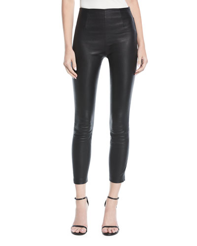 Cropped Leather Leggings w/ Back Rivets