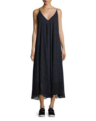 Sleeveless V-Neck Plaid Gauze Trapeze Dress