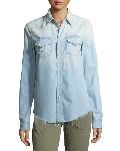 Shady Ex's Button-Front Distressed Denim Shirt