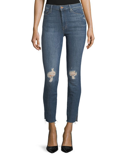 Vamp High-Rise Skinny Released-Hem Jeans