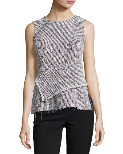 Sleeveless Tweed Wrap Top