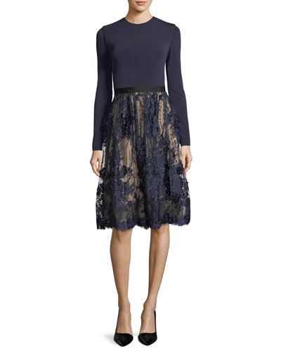 January Cocktail Dress w/ Ponte Bodice & Lace Skirt