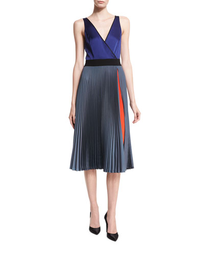 Sleeveless V-Neck Faux-Wrap Satin Dress