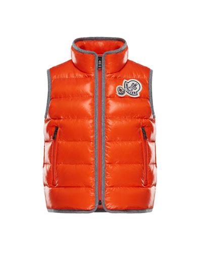 Moncler Bramont Contrast-Trim Quilted Vest, Size 4-6