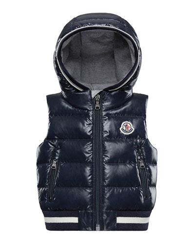 Larry Hooded Sleeveless Vest, Size 12M-3T