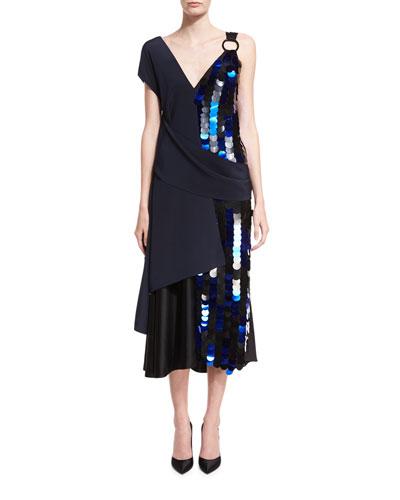 Asymmetric Draped Silk Midi Cocktail Dress w/ Paillettes