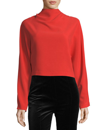 Long-Sleeve High-Neck Crepe Blouse