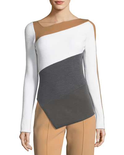 Asymmetric Colorblock Knit Wool Top