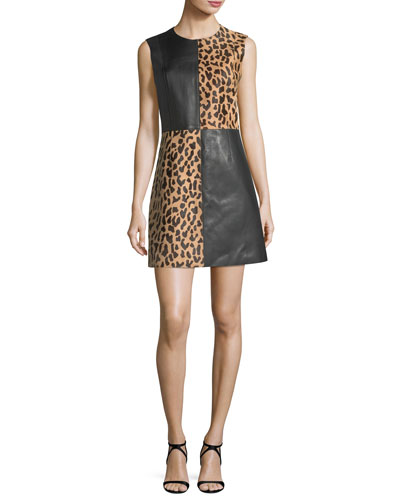 Paneled Sleeveless Crewneck Leopard-Print Leather Mini Dress