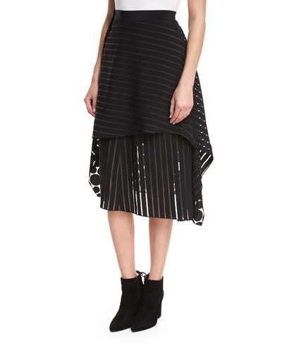 Front Ruffle Circles & Stripes Layered Midi Skirt