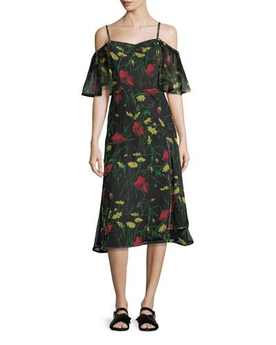 Off-Shoulder Floral-Print Chiffon Dress