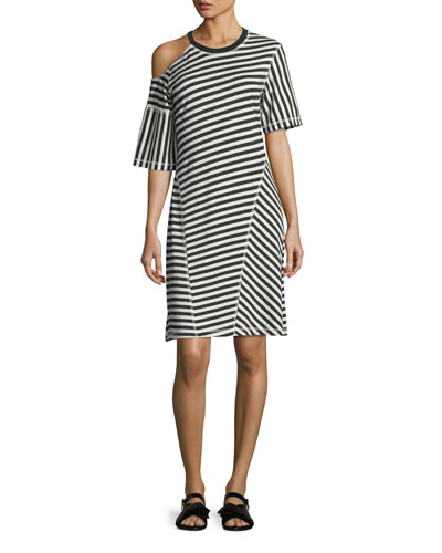 Striped Jersey Cold-Shoulder Dress