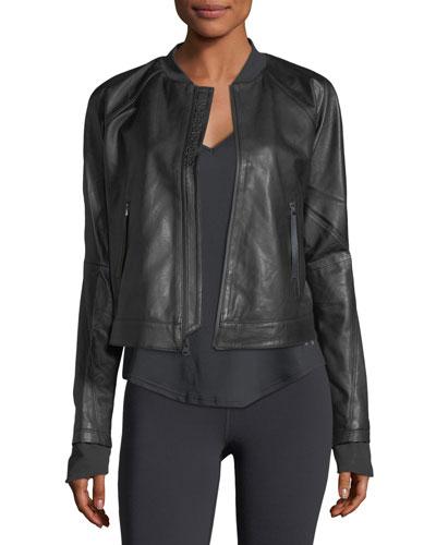 x Misty Copeland Zip-Front Leather Jacket