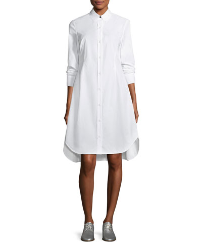 Albion Button-Front Long-Sleeve Poplin Shirtdress