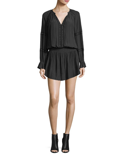 Candice Split-Neck Long-Sleeve Beaded Dress