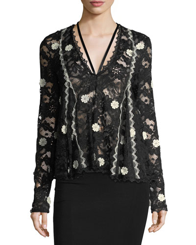 Cyndi V-Neck Semisheer Lace Top