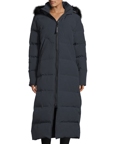 Mystique Long Hooded Puffer Parka Coat w/ Fur Trim