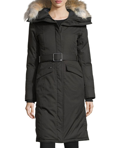 Morgan Fur-Trim Parka Coat
