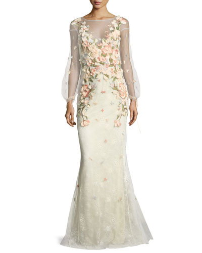 Bishop-Sleeve Lace Evening Gown w/ Floral Appliques