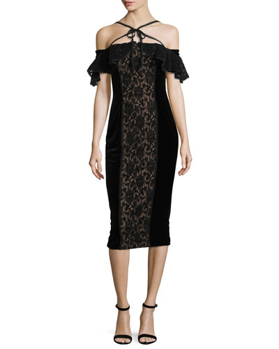 Velvet Off-the-Shoulder Midi Cocktail Dress w/ Lace