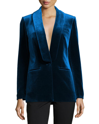 Single-Breasted Velvet Tailored Jacket