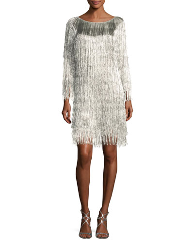 Ballina Boat-Neck Metallic Fringe Cocktail Dress