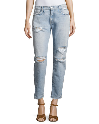 The Fling Distressed Denim Jeans, Indigo