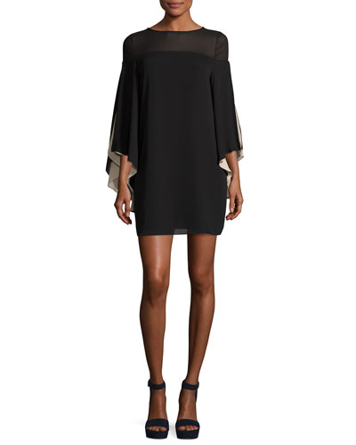 High-Neck Flowy-Sleeve Chiffon Cocktail Dress
