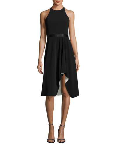 High-Neck Flowy Skirt Cocktail Dress