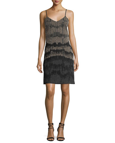 Beaded Fringed Cocktail Slip Dress