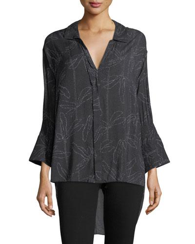 Floral-Print Smocked-Sleeve Shirt