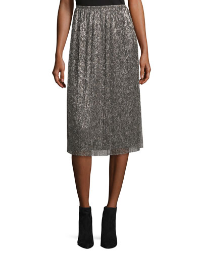 Metallic Jersey Midi Skirt