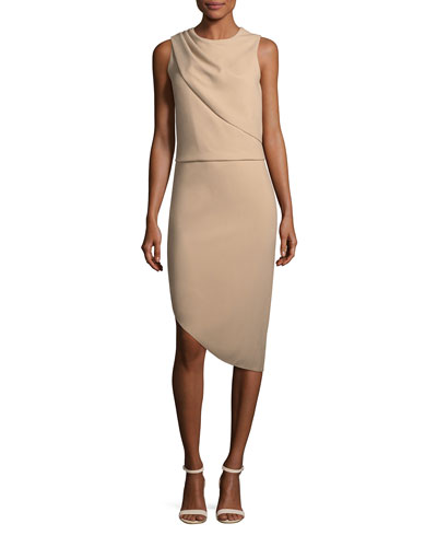 Drape-Front Asymmetric-Hem Sheath Dress Quick Look. Halston Heritage