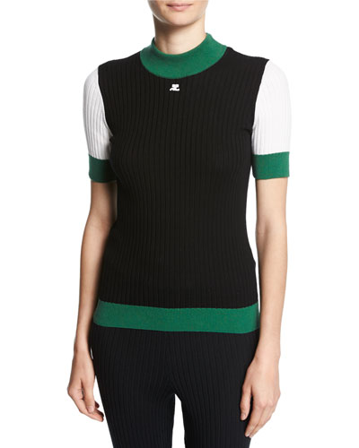 Ribbed Colorblock Short-Sleeve Top