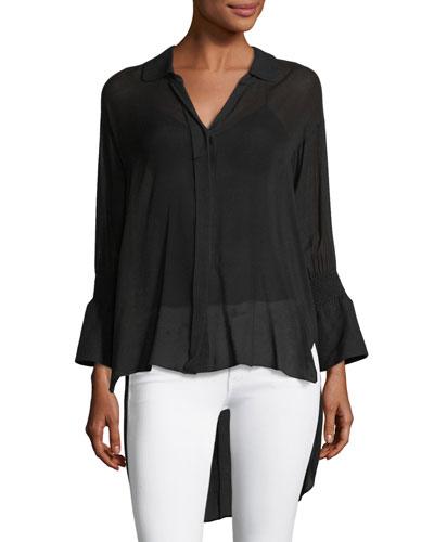 Long Smocked-Sleeve Shirt