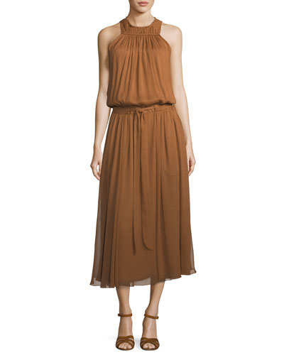 High-Neck Ruched Midi Dress