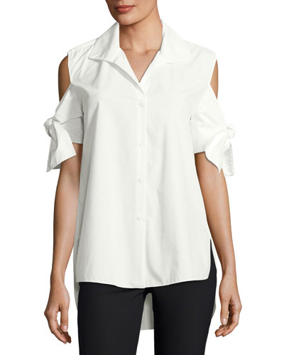 Tie-Sleeve Long Cotton Shirt