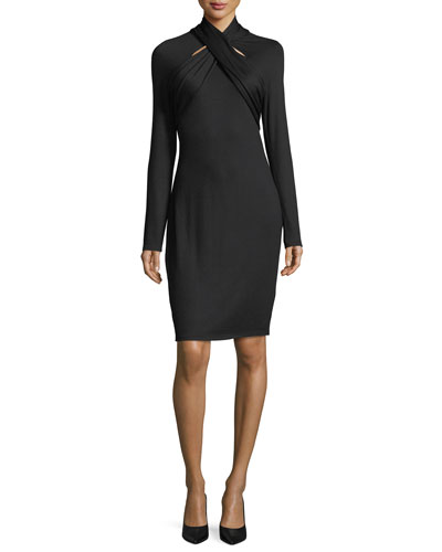 Cavalari Twist-Neck Long-Sleeve Dress