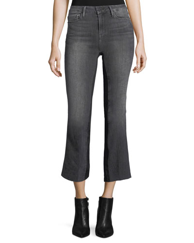 Le Crop Mini Boot-Cut Gusset Ankle Jeans w/ Raw-Edge