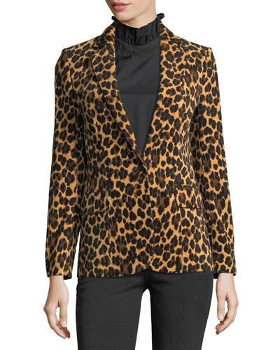 Cheetah-Print Notched Classic Blazer