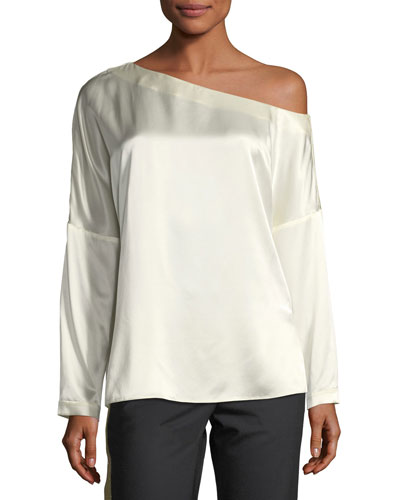 Crepe Back Satin Asymmetric Long-Sleeve Top