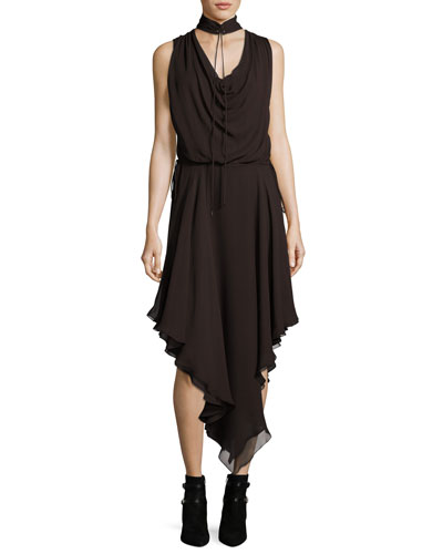 Twilight Sleeveless Choker Silk Midi Dress