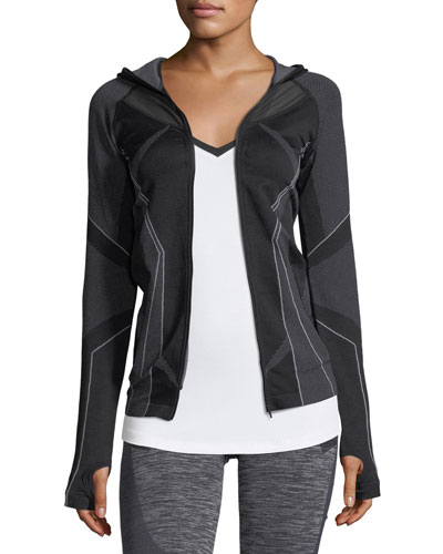 Sculpt Zip-Front Hooded Performance Jacket