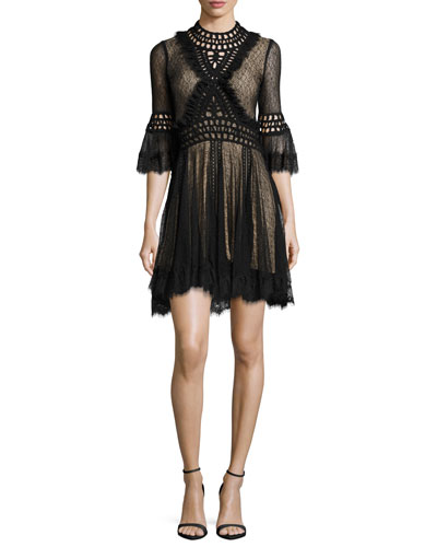 Crochet Panel Corded Mesh Mini Dress