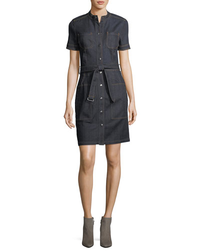 Aurelie Snap-Front Short-Sleeve Denim Dress